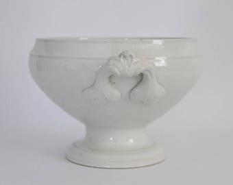 Antique French White Ironstone Tureen, Luneville, Earthenware Bowl, Primitive Farmhouse Kitchen, Jeanne D'arc Living