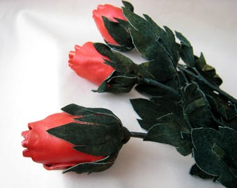 3pcs. Long stem red leather rose, Third Wedding Anniversary, Gift Flower. Spring bouquet, Ready to ship