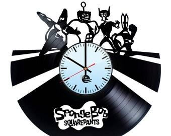 Sponge Bob Vinyl Record Wall Clock Home Decor