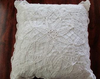vintage white throw PILLOW  - cotton, square, battenburg lace