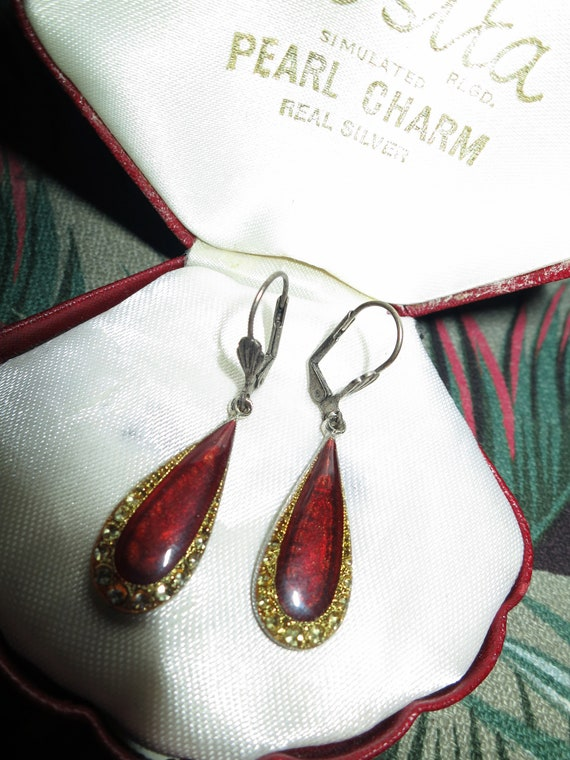 Lovely vintage French art deco styled garnet enamel rhinestone dropper earrings