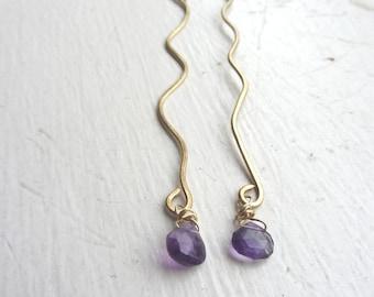 Amethyst Earrings, Amethyst Gold Earrings, February Birthday, February Gemstone, February Birthday Gift, REAL Gemstones