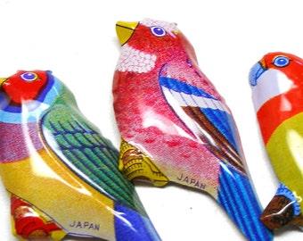 3 Tin BIRD brooches, 60's colorful metal toy costume jewelry, made in Japan.