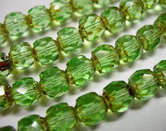25 6mm Czech Glass Peridot Green Picasso Renaissance beads