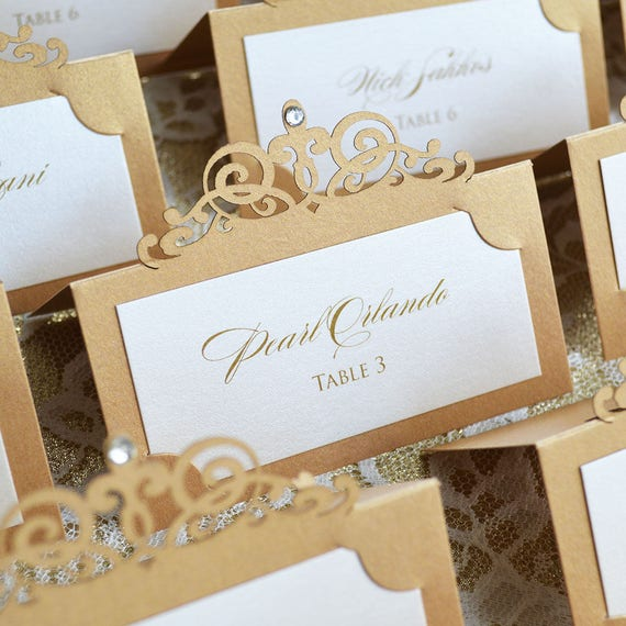 Ivory and Gold Laser Cut Place Card with Clear Crystal - Escort Card - Custom Placecard for Weddings, Sweet 16, Quinceañera, Bridal Showers