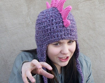 Adult Dragon Hat in Lilac with Bright Pink Spikes // Crochet Warm - Animal Hat for Women, Costume Beanie for Grown Ups