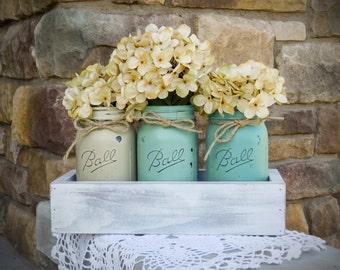 Turquoise Mason Jar Painted Planter Box Set. Rustic Planter Box with 3 Painted Mason Jars.Rustic Centerpiece. Farmhouse Decor. Wedding