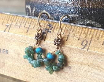 Mini Emeralds and blue glass trade bead earrings, free form organic shaped on copper wire hoops, earth tone earrings, Emerald gemstone chips