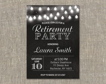 Retirement Invitation.Retirement Party Invitation.Retirement Celebration.Chalkboard.String Light.Black and White