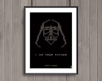 STAR WARS, Darth Vader, Pixel art movie poster