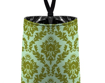 Car Trash Bag // Auto Trash Bag // Car Accessories // Car Litter Bag // Car Garbage Bag - Olive Green Pale Mint Damask // Car Organizer