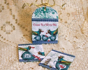 Digital Teabag Favor Box And 2 Matching Tea Bag Envelopes Kit  For Tea Party Tablescape - INSTANT DOWNLOAD - Blue Bird With Toile CS69GB