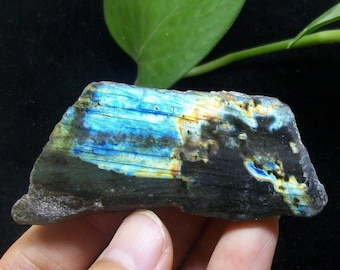 Polished strong iridescent Labradorite B3855