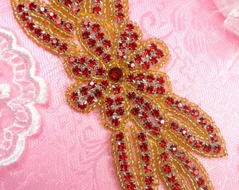 "JB166 Crystal Red Rhinestone Flower Applique Gold Beaded 6"" (JB166-rdgl)"