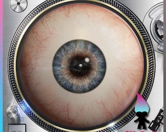 """Eyeball Turntable Slipmat - Style#1 - 12"""" LP Record Player, DJ Slipmat- 16oz Felt w/ Glazed Bottom"""