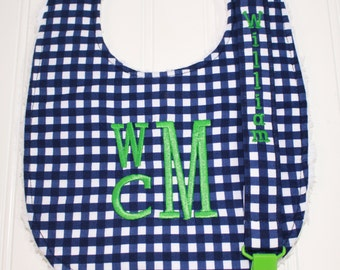 Monogram Baby Bib, Boutique Baby Toddler Bib, Gingham Bib, Triple Layer Chenille Bib, Adjustable Size, Personalized Baby,Bib Drool Bib