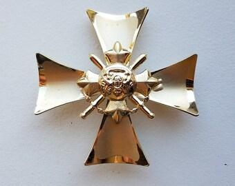 Gold Tone Crest Brooch - British WWI Croix de Guerre