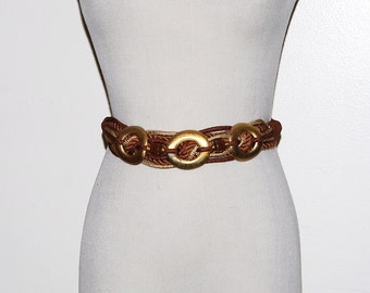 Vintage Belt Gold with Brown