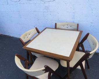 Mid Century Folding Dining Dinette Card Game Table and 4 Chairs by Norquist 8904