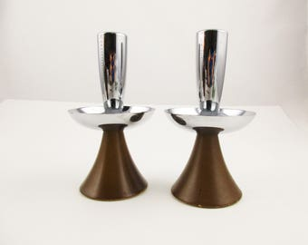 MCM Danish Style Candle Holders - Taper Candles - Teak and Chrome Candle Holders - Pair of Candle Holders