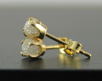 14K Yellow Gold Post Earrings - White Raw Rough Diamonds - Natural Uncut Stones Diamonds - Gold Ear Studs