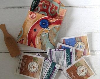 Tea travel pouch, wallet, herb pouch, teacher gift,  tea wallet, travel gift, zero waste, small pouch, small bag