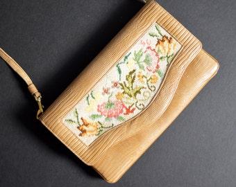 Vintage  Petit Point Shoulder Bag -Floral & Beige Snake Pattern Purse Clutch Gold Metal Clasp Classic Needlepoint Handbag 1950s