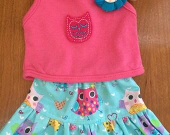 Owl Girl Doll clothes, 18 doll clothe,s 15 inch doll clothes, owl american doll top and owl doll skirt, doll felt flower clip