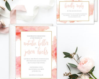 The Natalie Invitation Suite, Watercolor Wedding Invitations, Boho Wedding Invitations, Printable