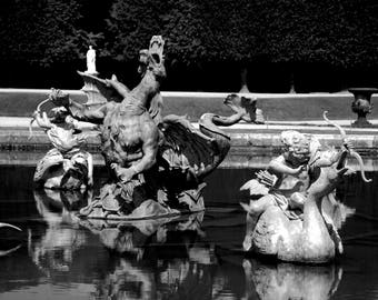 Dragon Fountain - Bassin du Dragon - Black and White - Château de Versailles - France - Photo - Print