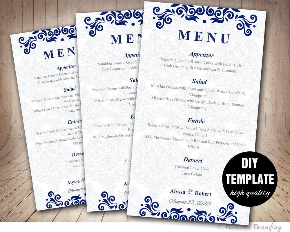 Menu Card Template DIY Printable Wedding Menu CardBlue
