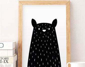 Black bear print, Minimal bear, Bear nursery art, Nursery minimal art, Black and white, Kids wall decor, Modern nursery art, Nursery print