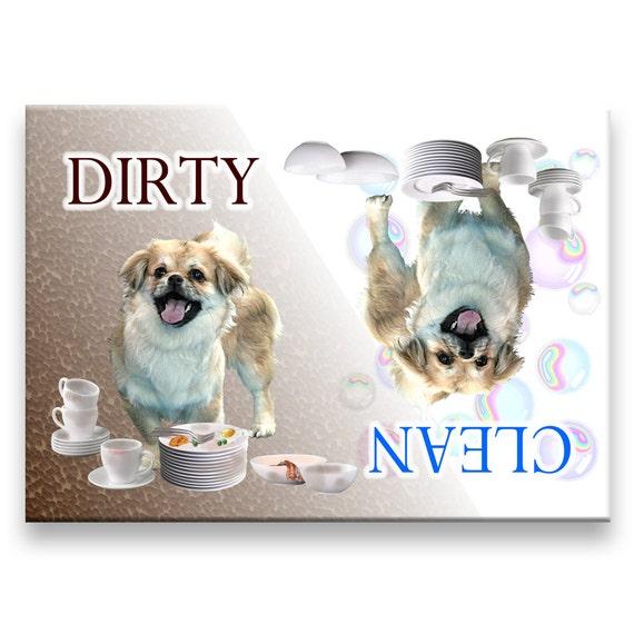Tibetan Spaniel Clean Dirty Dishwasher Magnet