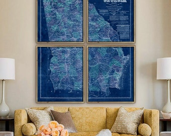 """Map of Georgia 1864, Vintage Georgia map, 5 sizes up to 48x60"""" in 1 or 4 parts, GA map, Georgia, also in blue - Limited Edition of 100"""