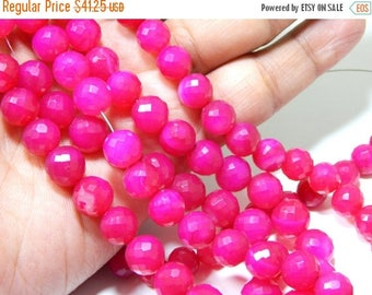 63% OFF Hot Pink Chalcedony Faceted Beads Round Shape Size-9.mm Approx Superb quality Wholesale Price.