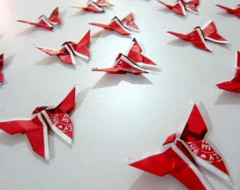 20 Upcycled Mini Red Tea Bag Origami Butterflies