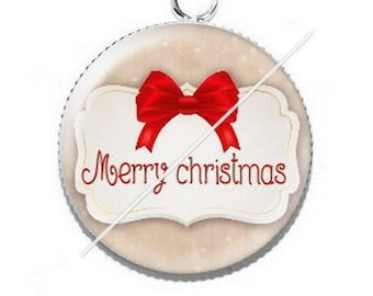 Pendant cabochon resin Merry Christmas happy holidays 8
