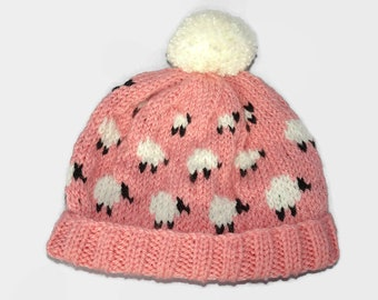 Baby Sheep Bobble Hat, pink baby hat, blue baby hat, beanie newborn, knitted baby hat, woolly Sheep hat