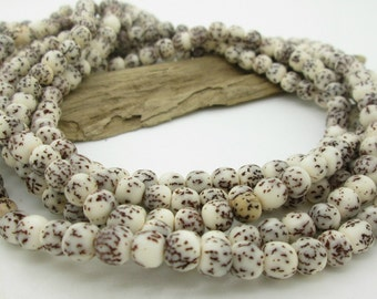 Natural Bodhi Tree Round Bead, Salwag Seed Bead, 6mm round, (34)