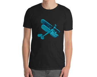 Adult T-shirt, Teal Biplane on Dark Shirt