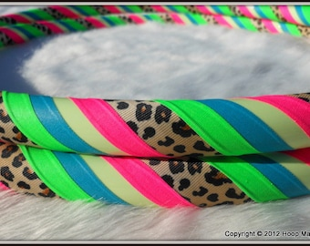 NEW Custom Hula Hoop - 'UV Rainbow Leopard Glow' - GLoW In The DaRK Leopard Fabric Hula Hoop. One of a Kind.