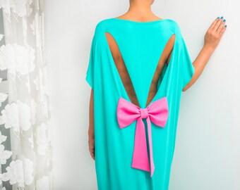 Mint dress, Extravagant dress, Backless dress, Maxi Dress, caftan, Oversized dress, Cover up dress, Summer dress, Kaftan, 133.144