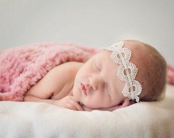 Off White Baby Photo Prop Headband , Newborn  Lace Baby Girls  Headband ;  Headband for girl baby newborn