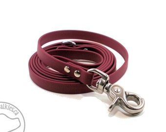 "Wine Merlot Small Dog Leash - 1/2"" (12mm) Wide - Beta Biothane - Thin Light Leash -Choice of 4ft, 5ft, 6ft (1.2m, 1.5m, 1.8m) and Hardware"