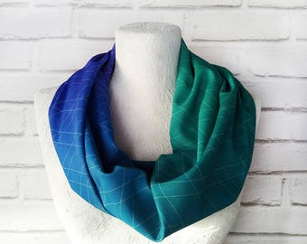 fast shipping/Blue-green-designers modern infinity scarf/pale print polyester-scuba fabric shawl/Gift for Her/Spring,Summer Accessories