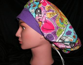 groovy 60's print bouffant scrub hat