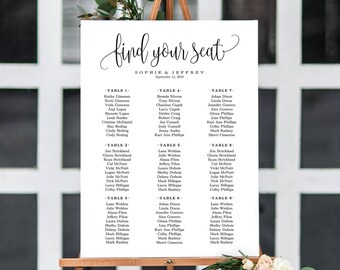 6 Sizes Wedding Seating Chart Template,Seating Chart Printable,Seating Board,Editable Seating Chart Poster,Wedding Sign,PDF Instant Download