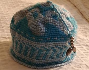 Sky Blue /Baby Blue Crochet Exotic Basket Cap