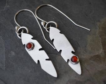 Feather Earrings, Sterling Silver Earrings, Dangle Earrings, Carnelian Gemstone Earrings, Orange / Red Gemstone Earrings, Asymmetrical