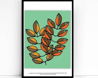 Brown Orange Fall Leaf Print - 8x10 art print - Autumn Decor - Fall Decoration - Leaf Art Print - Originally pen and ink- Fall Leaves